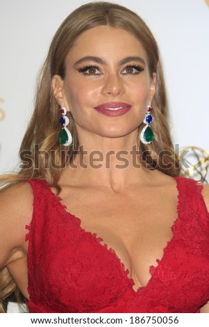 LOS ANGELES - SEP 22: Sofia Vergara in the press room during the 65th Annual Primetime Emmy Awards held at Nokia Theater L.A. Live on September 22, 2013 in Los Angeles, California - stock photo
