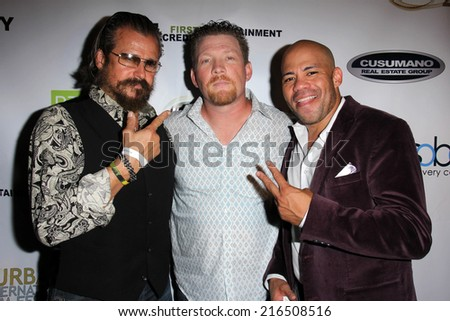 "LOS ANGELES - SEP 6: Tim Abell, Christopher Ray, Gerald Webb at the ""Mercenaries"" Premiere - Burbank International Film Festival at AMC 6 on September 6, 2014 in Burbank, CA - stock photo"