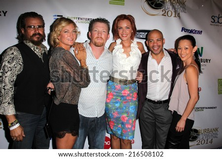 "LOS ANGELES - SEP 6:  Tim Abell, Zoe Bell, Christopher Ray, Kristanna Loken, Gerald Webb, Nicole Bilderback at the ""Mercenaries"" Premierel at AMC 6 on September 6, 2014 in Burbank, CA - stock photo"