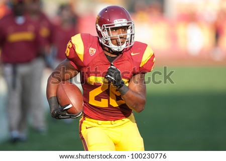 LOS ANGELES - SEP 17: USC Trojans RB Marc Tyler #26 during the NCAA Football game between the Syracuse Oranges & the USC Trojans on Sep 17 2011 at the Memorial Coliseum.