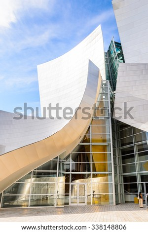LOS ANGELES - SEP 28, 2015: Walt Disney Concert hall in Los Angeles, California. It was designed by  Frank Gehry and opened on October 24, 2003 - stock photo