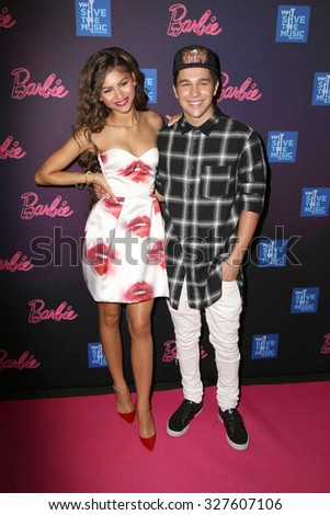 LOS ANGELES - SEP 26:  Zendaya Coleman, Austin Mahone at the Barbie Rock 'N Royals Concert Experience  at the Hollywood Palladium on September 26, 2015 in Los Angeles, CA - stock photo