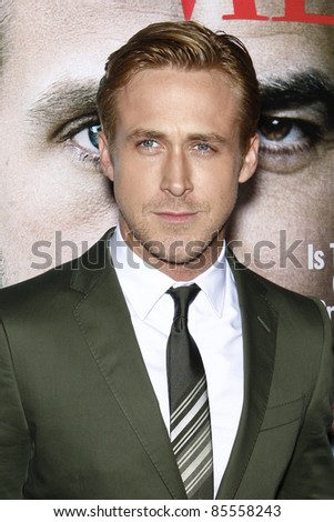 "LOS ANGELES - SEPT 27:  Ryan Gosling arriving at  the ""The Ides Of March"" LA Premiere at the Academy of Motion Picture Arts and Sciences on September 27, 2011 in Beverly Hills, CA - stock photo"