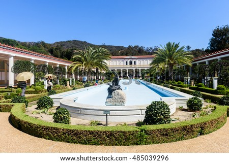 Los Angeles - September 15, 2016: Getty Villa museum on September 15, 2016 in Los Angeles, CA