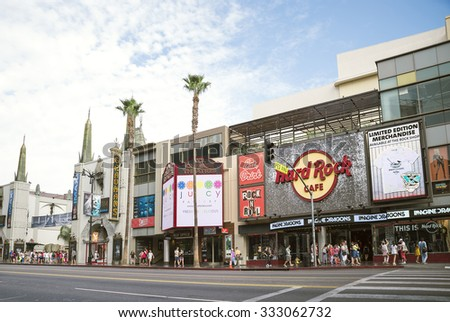LOS ANGELES - SEPTEMBER 12, 2015: View of Hollywood Boulevard at day. In 1958, the Hollywood Walk of Fame was created on this street as a tribute to artists working in the entertainment industry.