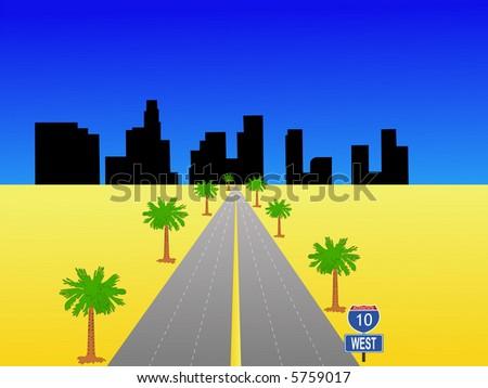 Los Angeles skyline and interstate 10 illustration JPG - stock photo