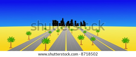 Los Angeles skyline and multiple highways with palm trees JPG - stock photo
