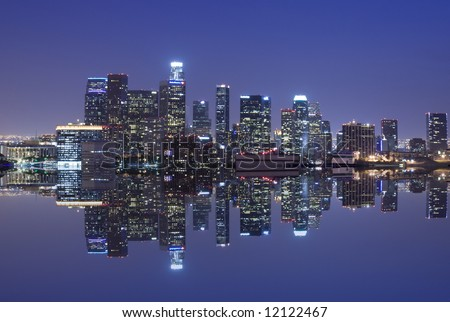 Los Angeles skyline and reflection - stock photo