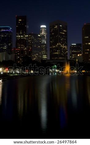 Los Angeles Skyline at Night - stock photo
