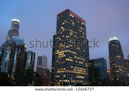 Los Angeles Skyline at Sunset - stock photo