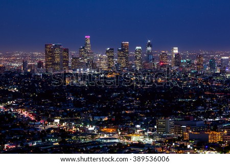 Los Angeles skyline at twilight - stock photo