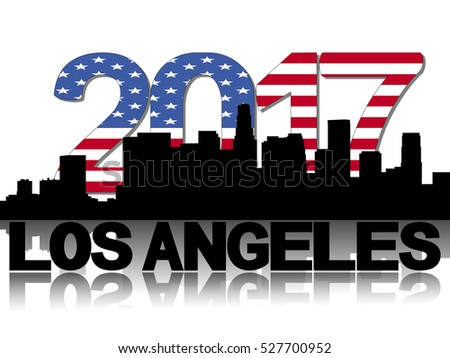 Los Angeles skyline 2017 flag text illustration