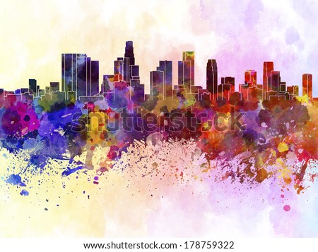 Los Angeles skyline in watercolor background - stock photo