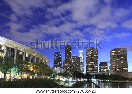 Los Angeles skyline just after sunset - stock photo
