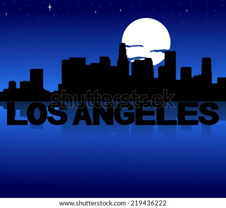 Los Angeles skyline reflected with text and moon illustration - stock photo