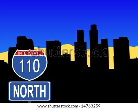 Los Angeles skyline with interstate 110 sign illustration JPG - stock photo