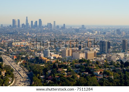 Los Angeles skyscrapers and Hollywood Skyscrapers - stock photo