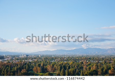 Los Angeles skyscrapers and Hollywood Skyscrapers. California - stock photo