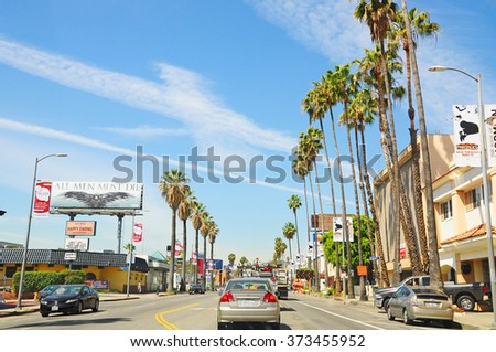 """LOS ANGELES, THE UNITED STATES - APRIL 8, 2014 : Beverly Hills is a city in Los Angeles County, California, United States.It is one of the """"Three Bs"""" a wealthy area in the Los Angeles Westside. - stock photo"""