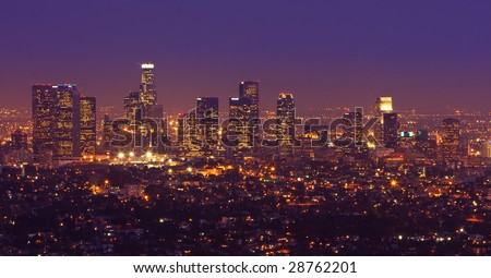 Los Angeles Urban Skyline at Dusk - stock photo
