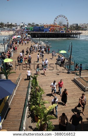 Los Angeles - USA - August 15, 2015 an image of the pontoon of the fair of Santa Monica with tourists and attractions. - stock photo