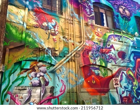 Los Angeles, USA - August 18 - Extensive, colorful graffiti on a wall in Venice Beach on August 18th 2014. Venice is known as a hangout for the creative and the artistic.  - stock photo