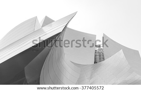 LOS ANGELES, USA - AUGUST 21, 2015:  Walt Disney Concert Hall designed by architect Frank Gehry, is home of the Los Angeles Philharmonic orchestra and the Los Angeles Master Chorale. - stock photo