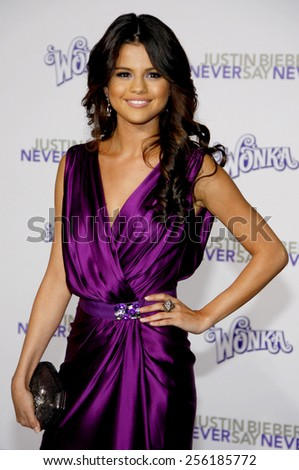 "LOS ANGELES, USA - FEBRUARY 8: Selena Gomez at the Los Angeles Premiere of ""Justin Bieber: Never Say Never"" held at the Nokia Theatre L.A. Live in Los Angeles, USA on February 8, 2011. - stock photo"