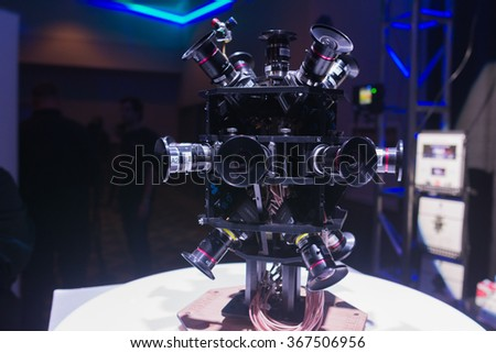 Los Angeles, USA - January 23, 360 Degree Virtual Reality Camera System during  VRLA Expo Winter, virtual reality exposition, at the Los Angeles Convention Center.