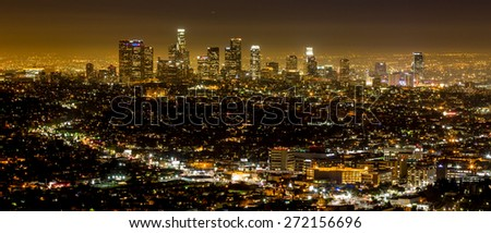 Los Angeles, USA - January 5: View of Downtown from the Hollywood Hills in Los Angeles, USA on January 5, 2014. - stock photo