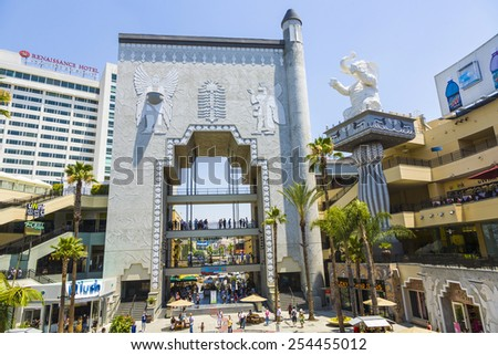LOS ANGELES, USA - JULY 5, 2008: The Hollywood and Highland Center is a shopping mall and entertainment complex at Hollywood Boulevard and Highland Avenue in Los Angeles, USA. - stock photo