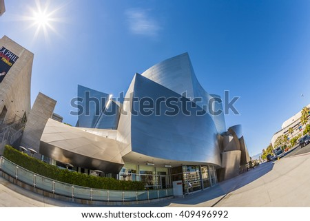 LOS ANGELES, USA - JULY 27, 2012: The Walt Disney Concert Hall in LA. The building was designed by Frank Gehry and opened in 2003. - stock photo