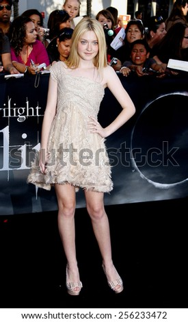 "LOS ANGELES, USA - JUNE 24: Dakota Fanning at the Los Angeles Premiere of ""The Twilight Saga: Eclipse"" held at the Nokia LA Live Theater in Los Angeles, USA on June 24, 2010. - stock photo"