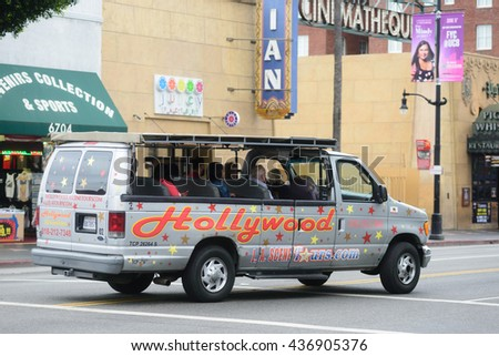 LOS ANGELES, USA - JUNE 11, 2016: Hollywood tour buses on Hollywood blvd in Los Angeles, USA