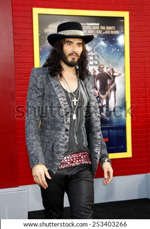 "LOS ANGELES, USA - JUNE 8: Russell Brand at the Los Angeles premiere of ""Rock of Ages"" held at the Grauman's Chinese Theater, Los Angeles, USA on June 8, 2012. - stock photo"