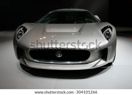 Los-Angeles, USA - Nov 18, 2010: Jaguar C-X75 concept at the LA Auto Show on Nov 18, 2010 in LA, California - stock photo
