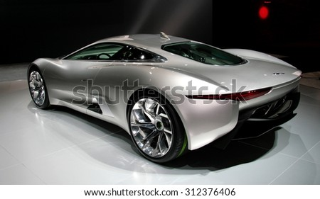 Los-Angeles, USA - Nov 18, 2010: Jaguar C-X75 concept at the LA Auto Show on Nov 18, 2010 in LA, California - stock photo