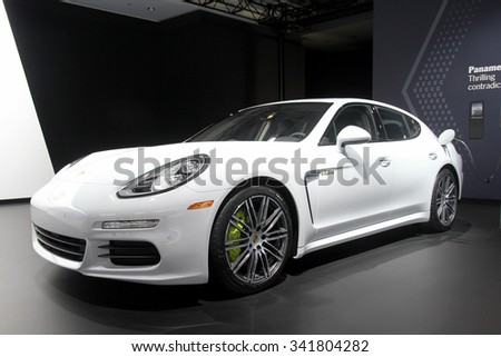 Los-Angeles, USA - Nov 19, 2015: Porsche Panamera hybrid at the LA Auto Show on Nov 19, 2015 in LA, California - stock photo