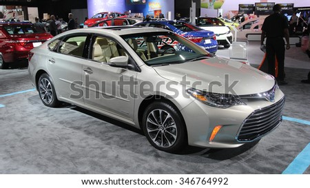 Los-Angeles, USA - Nov 18, 2015: Toyota Camry hybrid at the LA Auto Show on Nov 18, 2015 in LA, California - stock photo