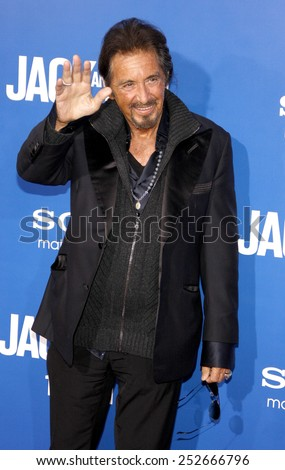 "LOS ANGELES, USA - NOVEMBER 6: Al Pacino at the World Premiere Of ""Jack and Jill"" held at Regency Village Theater in Westwood, USA on November 6, 2011."