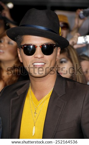 "LOS ANGELES, USA - NOVEMBER 14: Bruno Mars at the Los Angeles Premiere of ""The Twilight Saga: Breaking Dawn Part 1"" held at the Nokia Theatre L.A. Live in Los Angeles, USA on November 14, 2011. - stock photo"