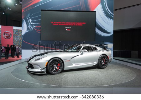 Los Angeles, USA - November 19, 2015: Dodge Viper ACR 2016on display during the 2015 Los Angeles Auto Show. - stock photo