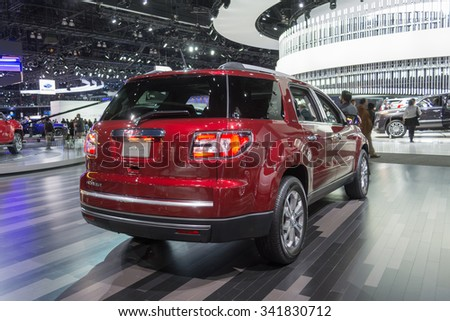 Los Angeles, USA - November 18, 2015: GMC Acadia on display during the 2015 Los Angeles Auto Show.