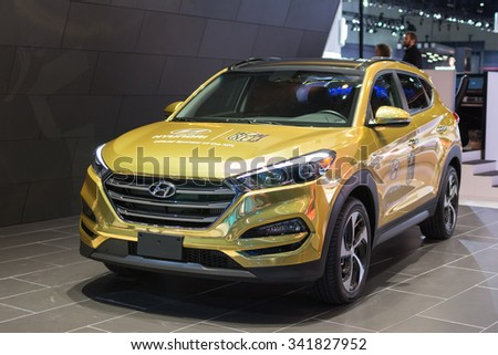 Los Angeles, USA - November 18, 2015: Hyundai Tucson on display during the 2015 Los Angeles Auto Show.