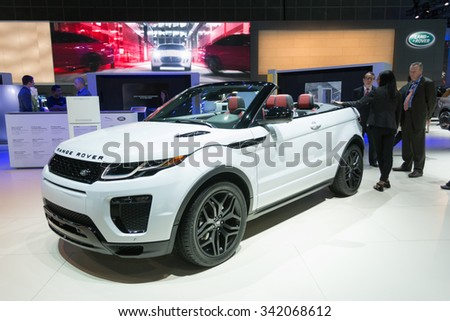 Los Angeles, USA - November 19, 2015: Range Rover Evoque Convertible SUV on display during the 2015 Los Angeles Auto Show. - stock photo