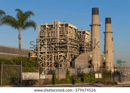 Los Angeles, USA - November 14, 2015: The Redondo Beach Power Plant, a gas-powered electricity plant owned by AES, which future is the subject of ongoing discussions and election polls. - stock photo