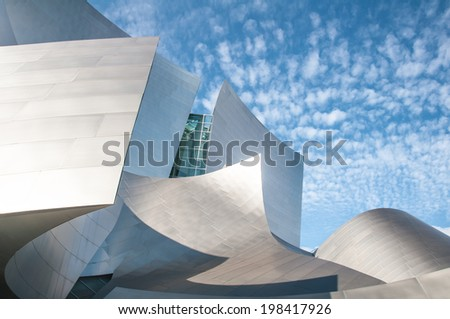 LOS ANGELES, USA - NOVEMBER 27, 2010: The Walt Disney concert hall in Los Angeles designed by Richard Gehry opened in 2003 - stock photo