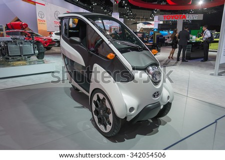 Los Angeles, USA - November 19, 2015: Toyota I Road on display during the 2015 Los Angeles Auto Show.