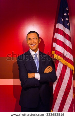 LOS ANGELES, USA - SEP 28, 2015: Barack Obama in the  Madame Tussauds Hollywood wax museum. Marie Tussaud was born as Marie Grosholtz in 1761