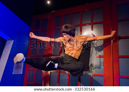 LOS ANGELES, USA - SEP 28, 2015: Bruce Lee in the  Madame Tussauds Hollywood wax museum. Marie Tussaud was born as Marie Grosholtz in 1761 - stock photo
